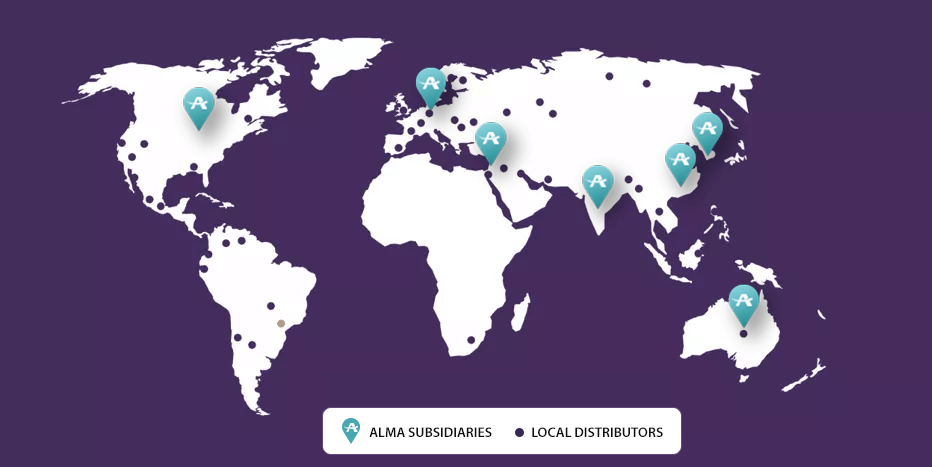 Alma's aesthetic lasers network of distribution